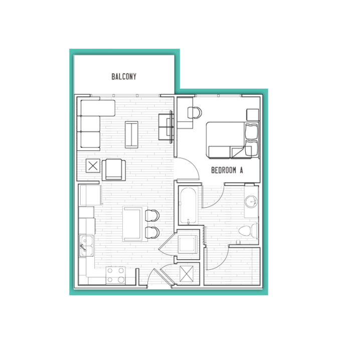 592 sq. ft. A1 floor plan