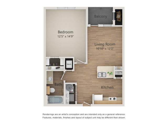 662 sq. ft. A1A/60% floor plan