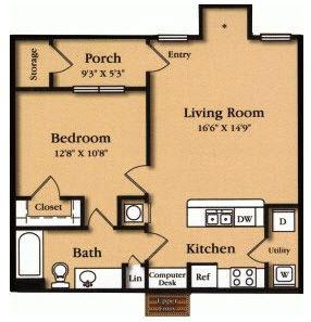 789 sq. ft. A4 floor plan