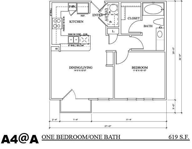 619 sq. ft. A4A floor plan