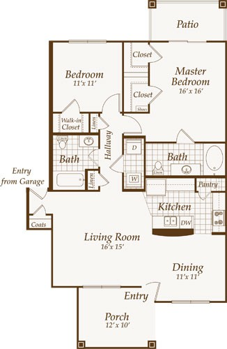 1,127 sq. ft. Ventinor-Down floor plan