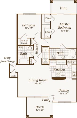 1,127 sq. ft. VENTNOR-down floor plan