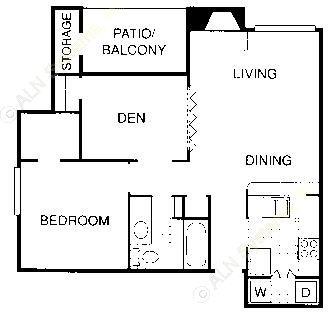 749 sq. ft. BD floor plan