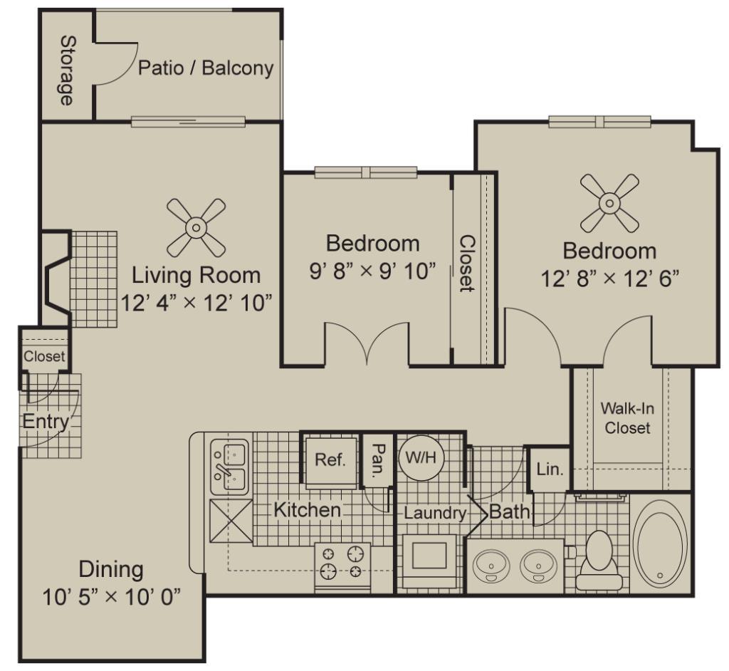 960 sq. ft. A4 floor plan