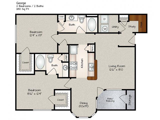 1,180 sq. ft. GEORGE floor plan