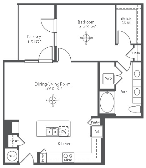 868 sq. ft. A14 floor plan
