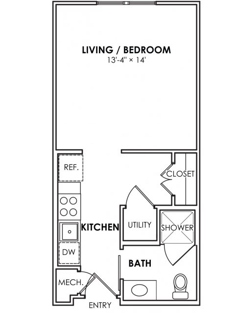 408 sq. ft. E01 floor plan