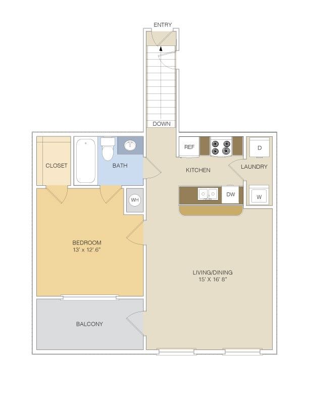 809 sq. ft. A1U/GAR floor plan