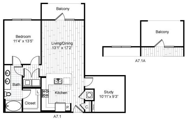 881 sq. ft. B3 floor plan