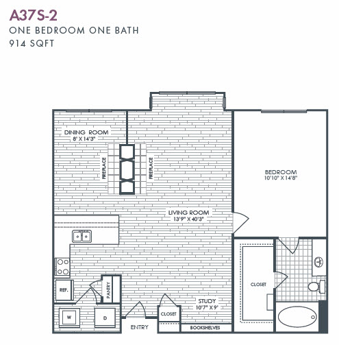 914 sq. ft. A37S-2 floor plan