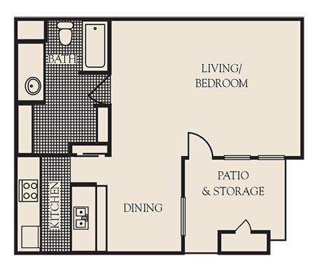 650 sq. ft. E1 floor plan