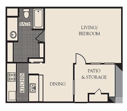 650 sq. ft. E1 floor plan