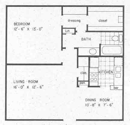 706 sq. ft. A2 floor plan