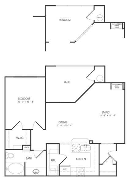 732 sq. ft. AUGUSTA floor plan