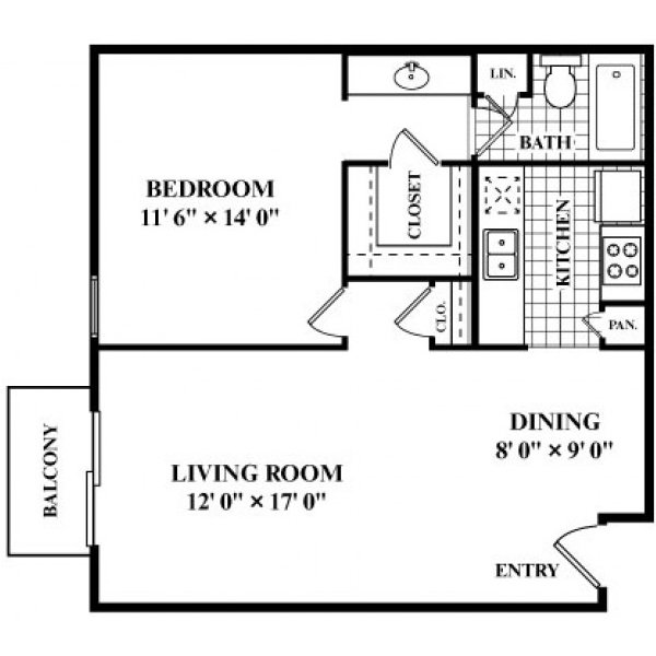653 sq. ft. C floor plan