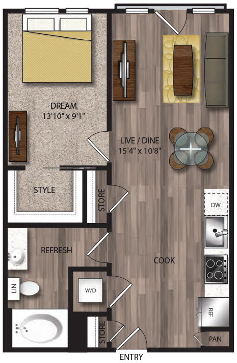 653 sq. ft. A7.2 floor plan