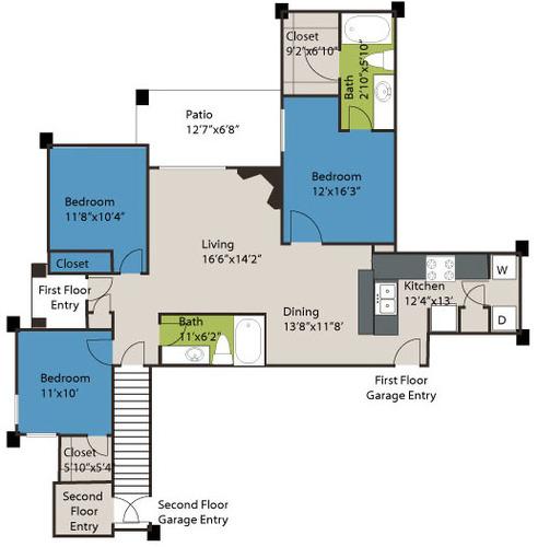 1,345 sq. ft. C1 floor plan