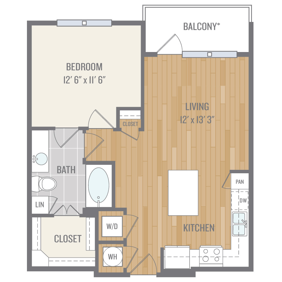 716 sq. ft. A3 floor plan