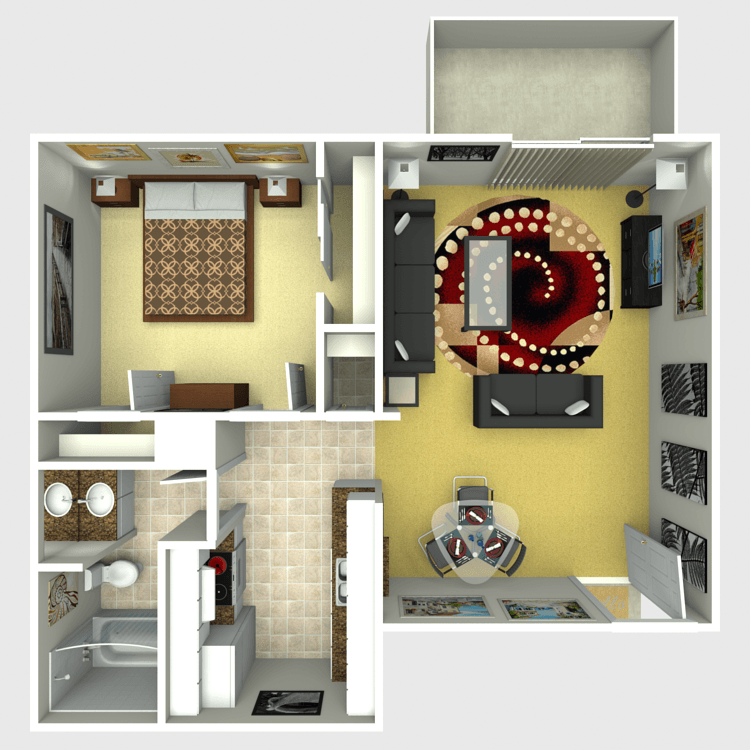 663 sq. ft. Teaton floor plan