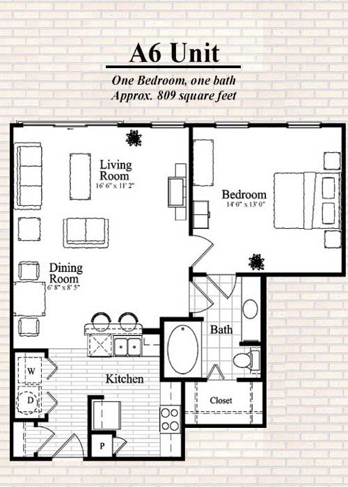 809 sq. ft. A6 floor plan
