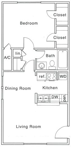 685 sq. ft. B floor plan