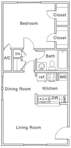 685 sq. ft. B floor plan