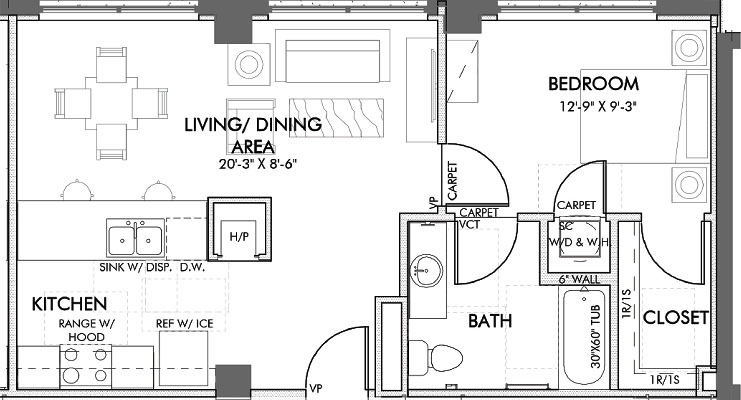 658 sq. ft. Taylor.2 60% floor plan