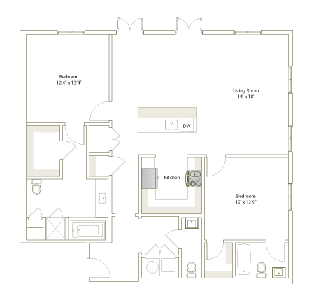 1,367 sq. ft. B2-9 floor plan