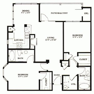 1,104 sq. ft. B3 floor plan