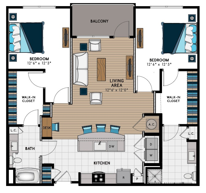 1,337 sq. ft. 2F-HC floor plan