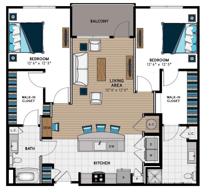 1,337 sq. ft. 2F-HC floor plan