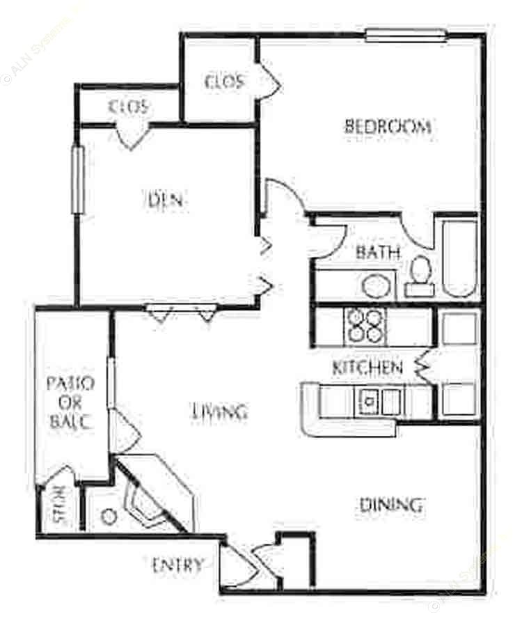 841 sq. ft. B-1 floor plan