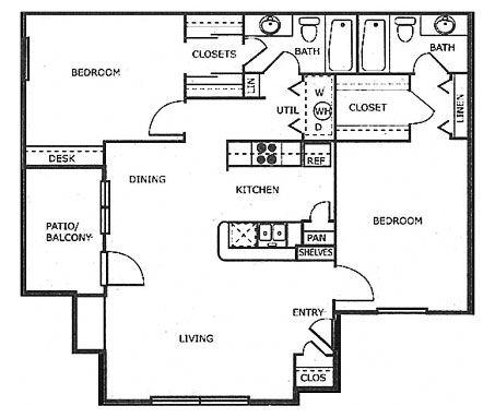 1,080 sq. ft. B2 floor plan