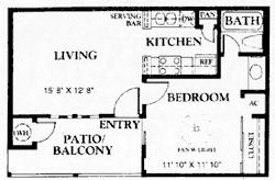 481 sq. ft. A1 50% floor plan