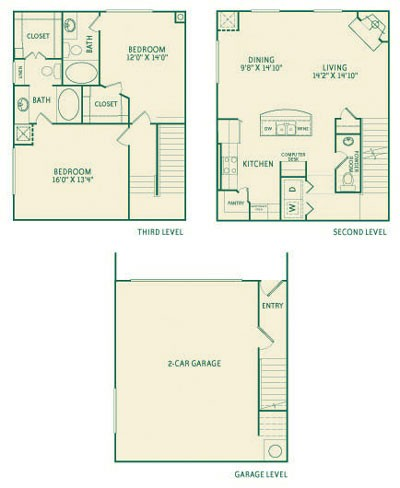 1,542 sq. ft. B2 floor plan