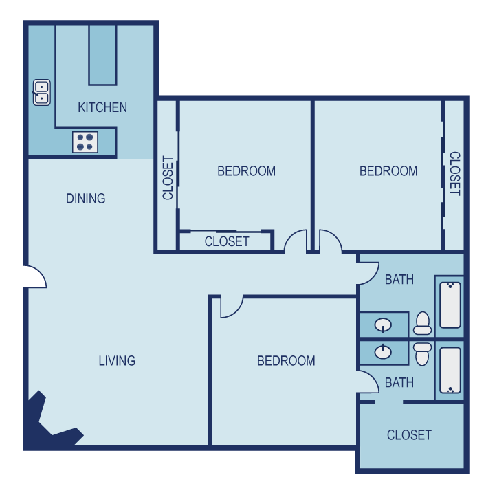 1,285 sq. ft. F1 floor plan