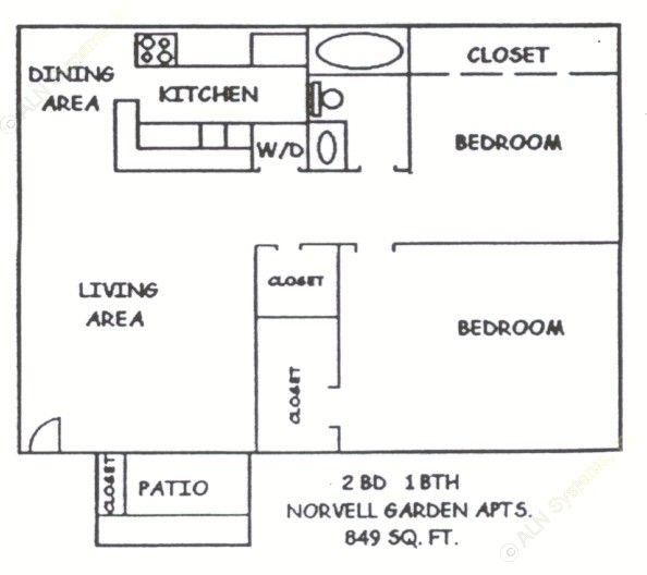 849 sq. ft. floor plan
