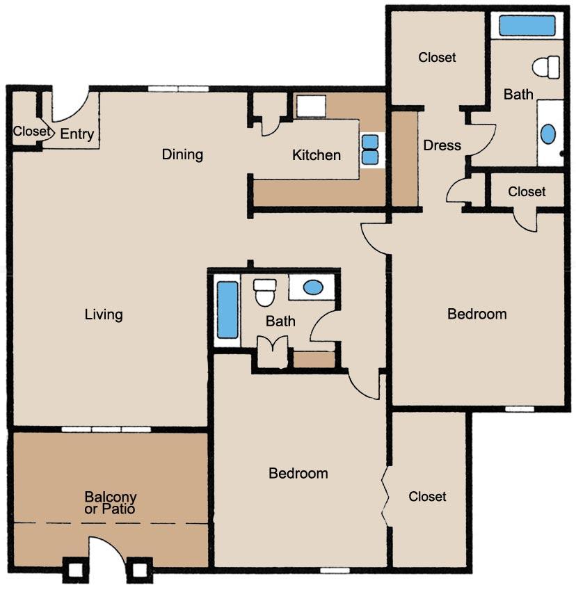 1,070 sq. ft. floor plan