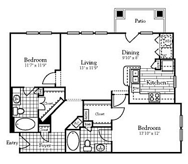 1,046 sq. ft. floor plan