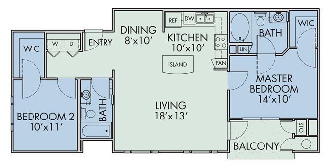 1,178 sq. ft. Belleza/60% floor plan