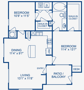 966 sq. ft. San Jacinto floor plan