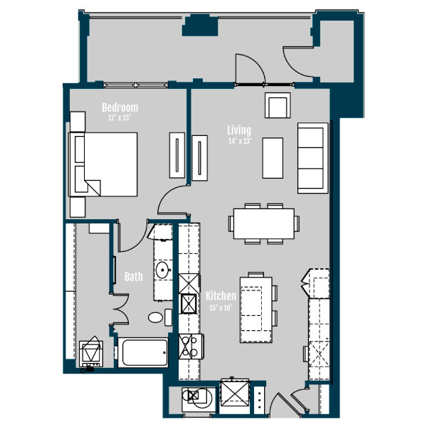 876 sq. ft. A7 floor plan