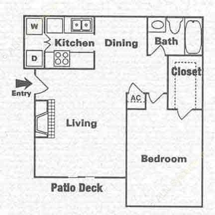 690 sq. ft. A-2 floor plan