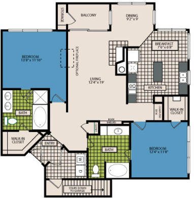 1,288 sq. ft. C4 floor plan