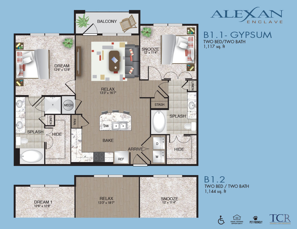 1,144 sq. ft. B1.2 floor plan