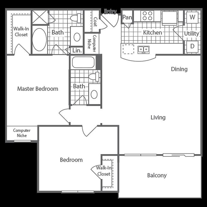 1,073 sq. ft. Wickham floor plan