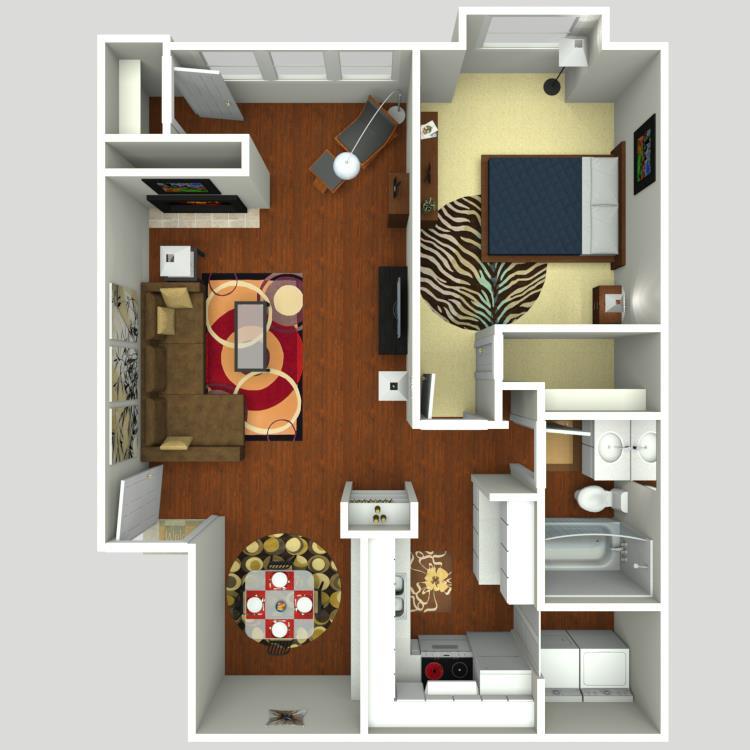 812 sq. ft. A1S floor plan