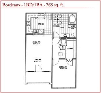 765 sq. ft. BORDEAUX floor plan