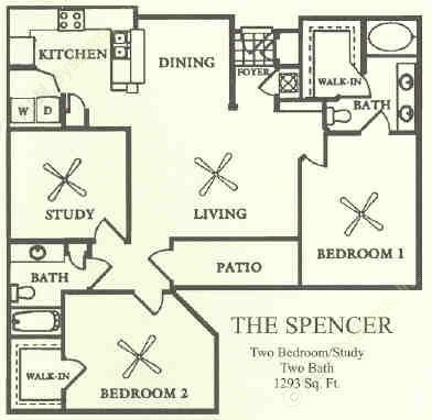 1,293 sq. ft. C1 floor plan