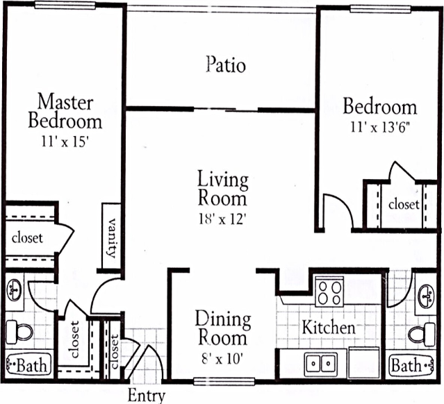 1,154 sq. ft. B4 floor plan